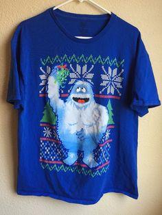 6c8e2bc82a7fb Christmas Shirt Mens XL Abominable Snowman Movie Rudolph Cotton Blue