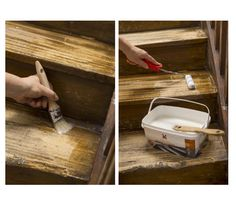 Paint a wooden staircase with the Painting Renovation Painted Staircases, Wood Staircase, Wooden Stairs, Painted Furniture, Furniture Design, Home Improvement, Sweet Home, Flooring, House Styles