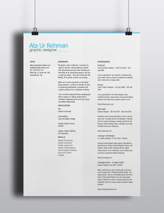 Free simple and minimalistic resume template
