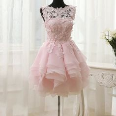 lovely homecoming dresses, A-line homecoming dresses, applique homecoming dresses, pink homecoming dresses, short prom dresses, formal dresses, party dresses, graduation dresses#SIMIBridal #homecomingdresses