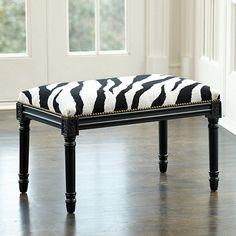 Zebra Needlepoint Bench - Black/white with Black paint - Ballard Designs - 449 Decor, Furniture, Piano Decor, Zebra Decor, Refinishing Furniture, Furniture Accessories, Black And White Decor, Contemporary Home Decor, Ballard Designs