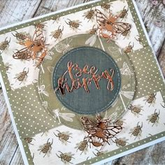 The new First Edition Gardenia papers are just so gorgeous! I've teamed them here with Dovecraft Bee Happy dies in Dovecraft rose gold… Bee Cards, Bee Happy, Flower Cards, Handmade Cards, Bees, Claire, Stampin Up, Catalog, Greeting Cards