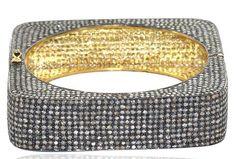 9.00ct  Victorian Antique style Rose Cut Polki Diamond #925 #Silver Mughal Style Gift Wedding / Anniversary / Party Wear Bangle Bracelet_015  rose cut diamond clarity : I1-I2... #diamondbracelet #sterling #silver #gemstone #stone #labradorite #onyx #turquoise #amethyst #quartz #red #green #yellow