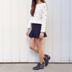 Annabel wearing out our Metallic Cutout Ankle Boots.