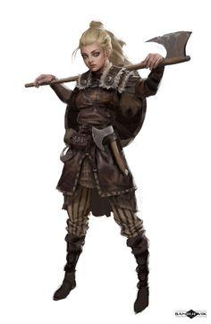 Viking Shield Maiden by Banjiu E'vik _Reasonable Fantasy Viking Character, Fantasy Character Design, Character Design Inspiration, Character Concept, Character Art, 3d Fantasy, Fantasy Armor, Medieval Fantasy, Fantasy Girl