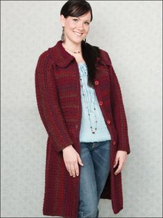 Chill Chaser Coat - Self-striping yarn provides construction detail and visual appeal to the basic easy-fitting coat. This e-pattern was originally published in Crochet Coats!   Size: Includes women's small through 3X-large. Made with medium WW yarn and size J (6mm) hook.   Skill Level: Intermediate   Designed by Jill Hanratty  free pdf from freepatterns.com
