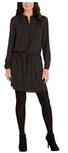 Hilary Radley Ladies Printed DressBlack  White Dot Tunic Medium * More info could be found at the image url. (This is an affiliate link and I receive a commission for the sales)