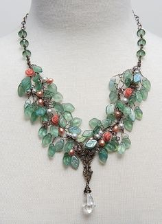 Light Slate Green and Peach Statement by CherylParrottJewelry