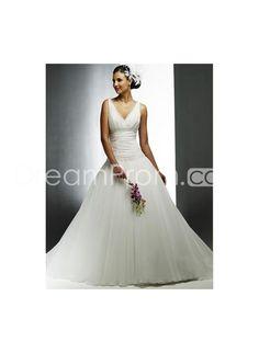 Sexy Ball Gown V-neck Floor-length Chapel Train Organza Wedding Dresses WM-0101