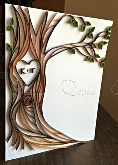 Paper Quilled Card / Tree with Carved Initials / Couple's Card / Wedding Car
