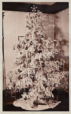 Vintage White Christmas Tree with Tinsel