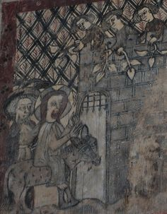 South Newington- 15th century wall painting, entering Jerusalem 233