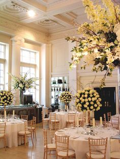 White rose tree table centres