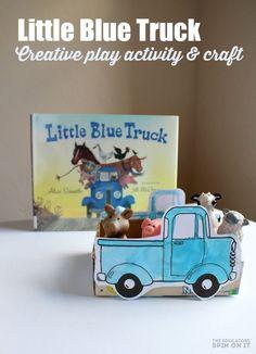 Little Blue Truck Creative Play Idea and Craft. A fun idea for a preschool farm theme with your kids. Kids Activity Books, Preschool Books, Preschool Farm Crafts, Literacy Activities, Preschool Activities, Literacy Bags, Preschool Lessons, Travel Activities, Preschool Learning