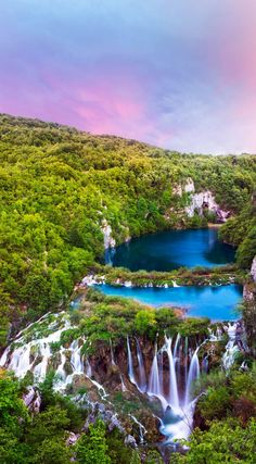 Breathtaking sunset view in the Plitvice Lakes National Park, Croatia