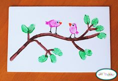 spring crafts for kids | Thumbprint birdies on a branch with thumbprint leaves!