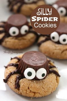 This fun and silly Halloween Spider Cookies Recipe features miniature Reese's Peanut Butter Cups for a yummy cookie to be the star of any Halloween party!