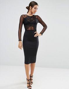 ASOS | ASOS Dobby Scallop Lace Panel Bodycon Midi Dress
