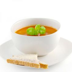 Nothing like a good soup to fill a hungry belly!  A c. of crmy tomtt soup w/ 2 T low-fat sour crm