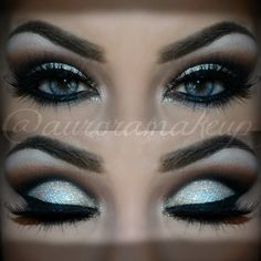 Glitters on top of cream eye shadow adds dimension. This dramatic cut crease is perfect for formal looks. Recreate this look with the must have products here.