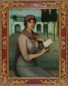 """Intrigante obra de ... Julio Romero de Torres Córdoba 1880 - 1930 Retrato de Matilde Vasconi (o """"La carta"""")"""