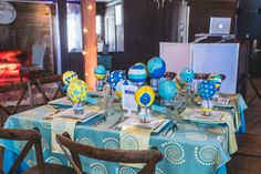 Such a fun table design at Happy Days from A Nuptial Soiree Hosted by Totally Cooked Catering. Backdrop and linens by Sitting Pretty Linens.  Tableware from Miller's Party Rental. Lighting Design by Something New Entertainment. Photo: Nick Edmundson www.nickedmundsonimaging.com