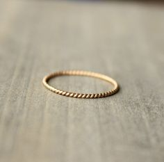 "Love this. Gold Wedding Band Anniversary Ring 14 k Gold Stacking Ring Delicate Thin Petite Ring --""Twined"""