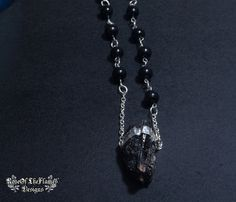 Black stone tourmaline necklace jewelry. Black beads necklace - pinned by pin4etsy.com