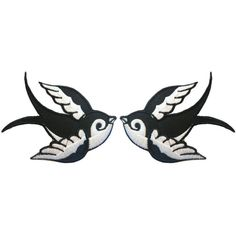 Pair of Rockabilly Swallow Iron On Patches Embroidery Sewing DIY... ($6.13) ❤ liked on Polyvore featuring home and home improvement