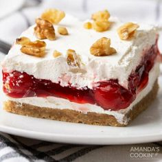 One-pan cherry lush dessert is light, fluffy, and full of cherrylicious cheesecake flavor! Cherry lush is an easy-to-make summer delight layered with a graham cracker walnut crust, cream cheese, cherry pie filling, and a topping of Cool Whip. One-pan cherry lush dessert is light, fluffy, and full of cherrylicious cheesecake flavor! The addition of walnuts in the crust takes it up a notch giving you subtle hints of nutty goodness with every bite. This recipe is almost no-bake, but you will…