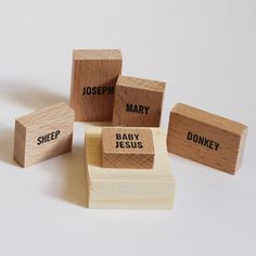 Minimal Nativity Set made of plain wooden blocks by Emelie Voirin