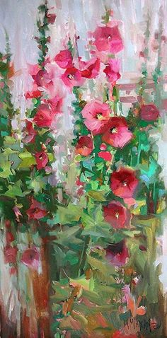 Pink Show, hollyhocks garden art,mary maxam, oil painting Oil Painting Flowers, Abstract Flowers, Watercolor Flowers, Painting & Drawing, Watercolor Paintings, Floral Paintings, Watercolors, Extra Large Wall Art, Paintings I Love