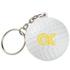 - Squeezable foam golf ball keychain - Includes metal keychain - Textured material