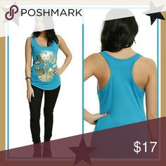 GOLD FOIL SUGAR SKULL TEAL GIRLS TANK TOP Add some color to your closet with this teal racer back tank top featuring a gold foil sugar skull on front.   95% polyester; 5% spandex Wash cold; dry low Black Matter Tops