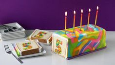 Celebrate Tablespoon.com's 5th birthday with this cake, covered in neon rainbow colored fondant, that when sliced reveals a surprise colorful number 5 inside.