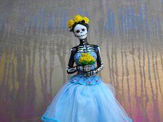 Dia de los Muertos  La Catrina  Blue with Yellow by dnacreations, $30.00