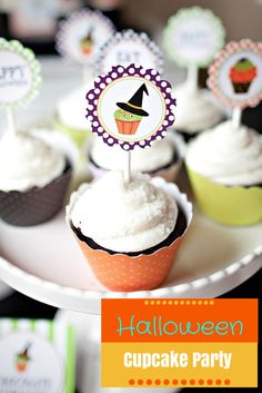 Throw an oh-so-fun and not-so-scary cupcake decorating party for kids!  Visit HGTV.com for free printable invites and cake toppers--> http://www.hgtv.com/entertaining/throw-a-halloween-cupcake-decorating-party/pictures/index.html?soc=pinterest