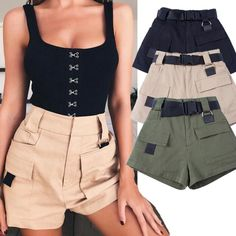 Women Military Style Cargo Shorts with Belt High Waist Short Pants 2018 Summer Elastic Waist Army Green Bottoms Looks Street Style, Looks Style, Short Outfits, Short Dresses, Summer Outfits, Fashion Pants, Fashion Outfits, Style Fashion, Womens Fashion