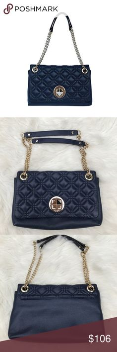 Kate Spade Cynthia Astor Quilted Bag Excellent used condition  Navy leather Kate Spade New York Astor Cory Cynthia Quilted Bag  Dual chain link Straps can be doubled up to use as a shoulder bag, or just use one side of the strap to wear as a crossbody.   Light wear on the gold turn lock No other flaws 100% authentic. Purchased in Kate Spade store.  Approx measurements:  7 x 12 x 2  Will consider offers. kate spade Bags Crossbody Bags