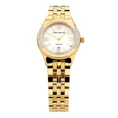 This classic gold tone ladies watch is set with glittering diamonds on the case for a luxe look. Featuring a date indicator and sapphire crystal glass, this stunning bracelet-style watch will remind you how precious time can be. Diamond Glitter, 21st Gifts, Classic Gold, Luxury Watches For Men, Fashion Watches, Fashion Bracelets, Gold Watch, Diamond Engagement Rings, Diamond Jewelry