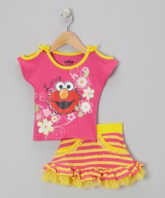 Take a look at this Pink & Yellow Stripe Elmo Tee & Skirt - Infant & Toddler by Sesame Street on #zulily today!