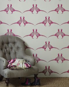 An important symbol of our traditional British countryside, this majestic bird is available in punchy pink or cool camo, for […] Hallway Wallpaper, Bird Wallpaper, Fabric Wallpaper, Wallpaper Ideas, Spotty Wallpaper, Paint Wallpaper, Wallpaper Designs, Beautiful Wallpaper, Wallpaper Decor