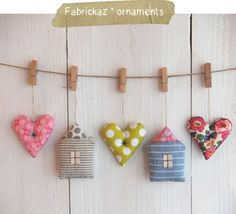 fabrickaz: Zakka Ornaments Cute idea for a wall garland..could use vintage clothes pins and vintage fabrics!!