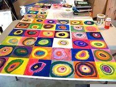 Kandinsky-inspired children's art project which I think could inspire a gorgeous quilt.  From Candice Ashment Art via thecraftycrow.net.