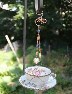 Floral Vintage Tea Cup Bird Feeder, Garden Art, Upcycle Bird Feeder