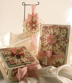 Card, ornament and box Shabby Chic Boxes, Vintage Shabby Chic, Vintage Style, Spellbinders Cards, Bee Cards, Thanks For The Memories, Beautiful Handmade Cards, Die Cut Cards, Vintage Cards