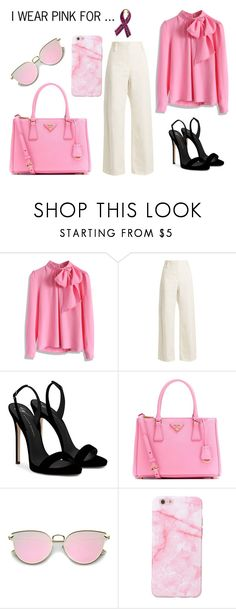 """""""I Wear Pink for....."""" by nora-amjed ❤ liked on Polyvore featuring Chicwish, The Row, Giuseppe Zanotti, Prada, Bling Jewelry, contest, cancer, polyvorecontest and polyvoreset"""