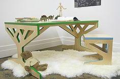 'verantwoord' gelijmde meubelplaat. Deze meubels uit soja-gelijmd multiplex zijn ontworpen door de Amerikaanse ontwerper April Hannah.