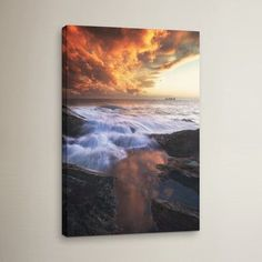 Three Posts Water and Fire Photographic Print on Wrapped Canvas Size: