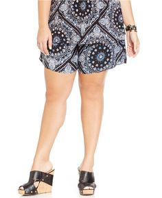 American Rag Plus Size Bandana-Print Soft Shorts Trendy Plus Size Dresses, Plus Size Outfits, Short Dresses, Plus Size Shorts, Bandana Print, Soft Shorts, American Rag, Stylish